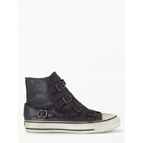 Women Ash Buckle Up Hi-Top Trainers Graphite Leather 14582031 EXDSVTL