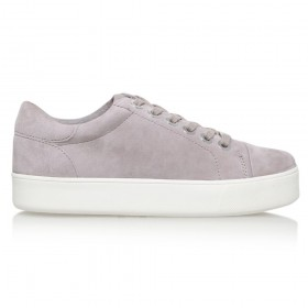 Women Carvela Loot Lace Up Trainers Grey Suede 15272611 ZDYRTDG