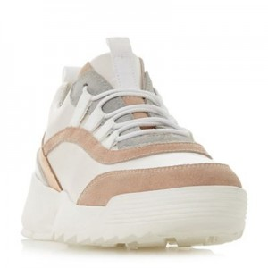 Women Dune - Light pink leather 'Esmarelda' lace up trainers 56308_000047877 WCLXSEV