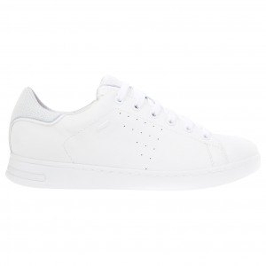 Women Geox Women's Jaysen Leather Lace Up Trainers White 40880693 AIFRLNP