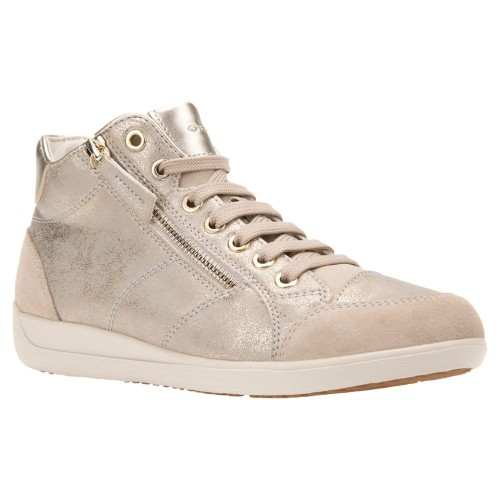 Women Geox Women's Myria High Top Lace Up Trainers Taupe 40881641 GLFUPTW