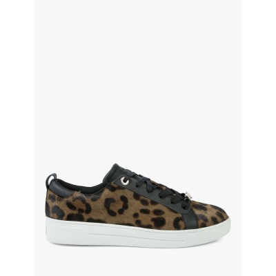Women Ted Baker Elzseel Lace Up Trainers Leopard Leather 14782274 POJAFNQ