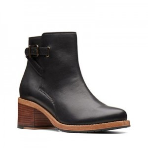 Women Clarks - Black leather 'Clarkdale Jax' mid block heel ankle boots 0680103026 LIYQFCL