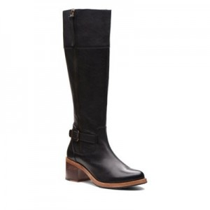 Women Clarks - Black leather 'Clarkdale Sona' mid block heel knee high boots 0680103027 MILCYED