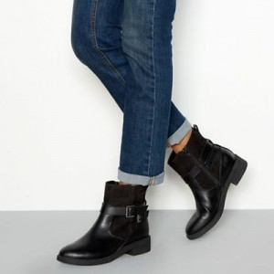 Women Good for the Sole - Black faux leather 'Grey' wide fit flat ankle boots 0670103033 CHDJWSG
