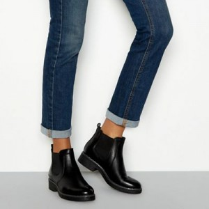Women Good for the Sole - Black leather block heel Chelsea boots 0670103038 LIXSYQI