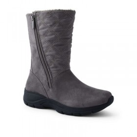 Women Lands' End - Grey quilted side-zip winter boots 61132_503405IAE CIEGMWX