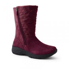 Women Lands' End - Red wide quilted side-zip winter boots 61132_503407DCQ MICJNEX