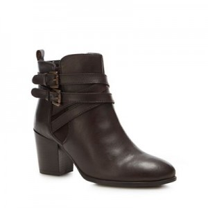 Women Lotus - Brown leather 'Taggerty' mid block heel ankle boots 0680103452 JSKFXKV