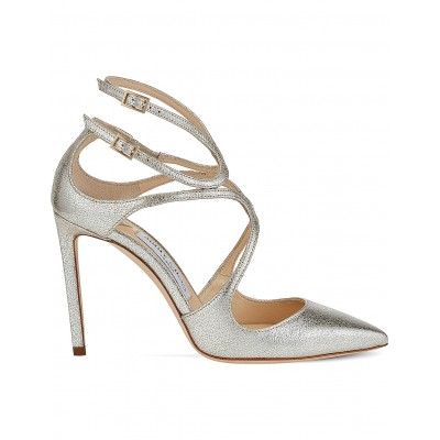 JIMMY CHOO Women Lancer 100 glitter leather pointed courts Ankle buckle fastenings HIYCWOB