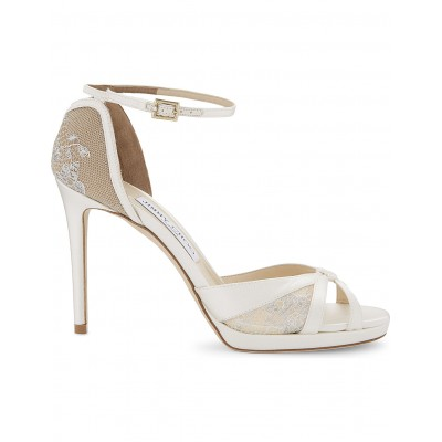 JIMMY CHOO Women Talia 100 lace and satin heeled sandals Ankle buckle fastening LAIVERX