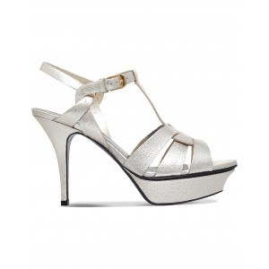 SAINT LAURENT Women Tribute 75 leather heeled sandals Buckle fastening at ankle MAMXYVO