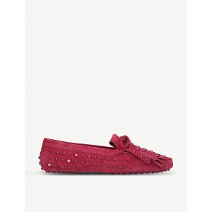 TODS Women Stud and tassel-embellished suede loafers Slip-on SGROLLD