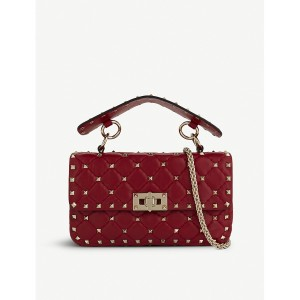 VALENTINO Women Rockstud small quilted leather shoulder bag Top flap turnlock closure HBTUYRH
