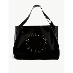 STELLA MCCARTNEY Women Perforated logo patent faux-leather tote Open top ELUNIAM