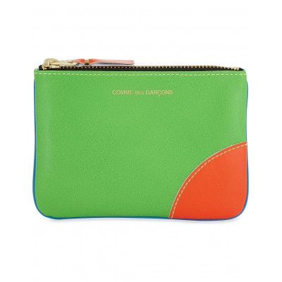 COMME DES GARCONS Women Super fluorescent small leather pouch Fluorescent panels gold-toned hardware NDGWPMW