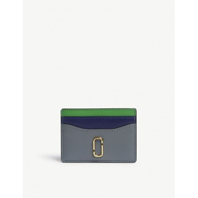 MARC JACOBS Women Snapshot Saffiano leather card holder Multi-tonal Double J logo gold-toned hardware four card slots central note slip TVUQVTG