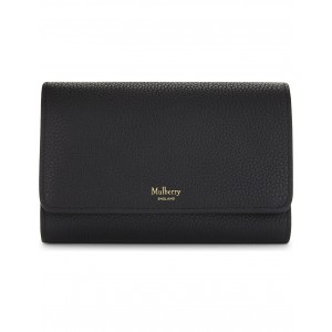 MULBERRY Women French medium grained leather continental wallet Press stud fastening BAFBOWP