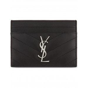 SAINT LAURENT Women Monogram quilted leather card holder Quilted silver-toned monogram five card slots XPTGYVI