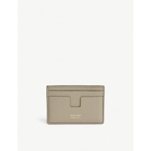 TOM FORD Women Classic grained-leather card holder Four exterior card slots 'T' shape one interior slot gold-toned foil lettering XJEVMEQ