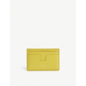 TOM FORD Women Classic grained-leather card holder Four exterior card slots 'T' shape one interior slot gold-toned foil lettering VACBVAO