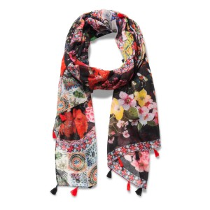 Desigual Foulard Micro Raport Red Day Scarves Floral D924068 CRBEZTP