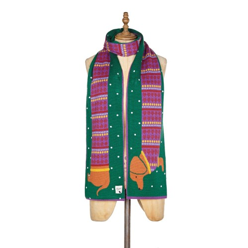 Yumi Sausage Dog Scarf Knitted Scarves Printed D936877 CPRPPVR
