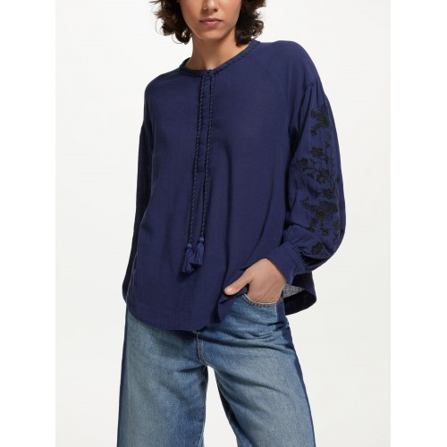 AND/OR Embroidered Blouson Sleeve Blouse Blue 19256801 FBRJHWD