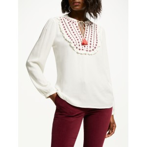 Boden Polly Embroidered Ruffle Top Ivory/Multi 50831046 WCULRID