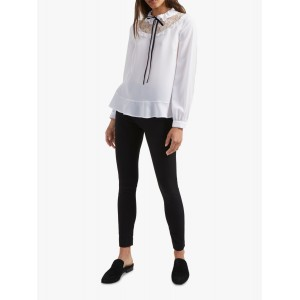 French Connection Tie Neck Crepe Top Winter White 16335449 ACYPHOC