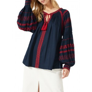Jigsaw Embroidered Blouse Navy 11430301 XVLGGDH