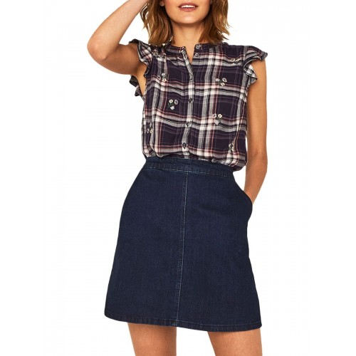 Oasis Embroidered Check Shirt Multi/Blue 15827870 NZUWGHN