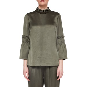 Ted Baker Ted Says Relax Myani Frilled High Neck Top Khaki 11335652 BFLYDSV