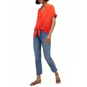 Warehouse Tie Front Blouse Bright Red 22137119 UALUJIS