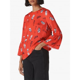 Whistles Millie Feather Print Frill Top Red/Multi 12130980 TBDDBJN