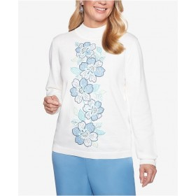 Alfred Dunner Women Simply Irresistible Floral Appliqué Sweater 6491356 ARKSMQN