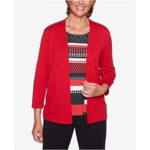 Alfred Dunner Women Sutton Place Embellished Layered-Look Sweater 6491348 WCSPSEZ