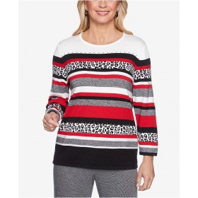 Alfred Dunner Women Sutton Place Printed Striped Sweater 6491343 TIYRYQW