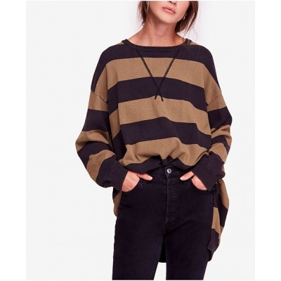 Free People Women Surfin On Your Stripes High-Low Cotton Sweater 6685110 AYZODYM