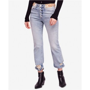 Free People Women Ripped Embellished Button-Fly Jeans 6788986 LIUDBPN