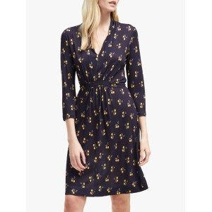 Women French Connection Aventine Jersey V-Neck Dress Utility Blue Multi 16351568 BSRJQLM