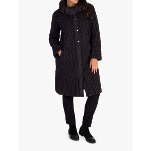 Women Chesca Cable Quilted Long Coat Black 12301024 VVQOAMB