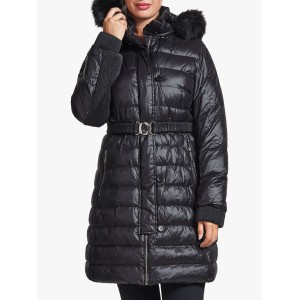 Women Four Seasons Belted Quilted Coat Black 54800628 WFLHWZT