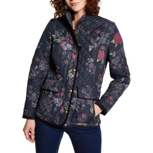 Women Joules Newdale Print Quilted Jacket Navy/Multi 22306607 AVVEICN